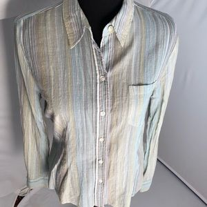 The Limited sheer button down green/silver stripes